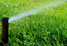 Irrigation system. Garden lawn automatic irrigation system Royalty Free Stock Photo