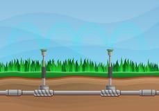 Irrigation system concept banner, cartoon style vector illustration