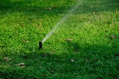 Irrigation system spray watering stock photography