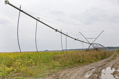 Irrigation system. View of a irrigation system at the edge of a corn field from Romania Stock Images