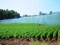 Irrigation system watering crops farmland farm field industrial Stock Image