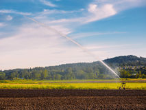 Irrigation system watering freshly seeded field Royalty Free Stock Images