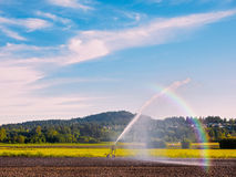 Irrigation system watering freshly seeded field Royalty Free Stock Photography