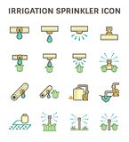 Irrigation sprinkler icon. Irrigation system and watering by sprinkler vector icon set design Royalty Free Stock Photo