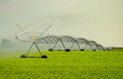 Irrigation system on the wheat field Stock Photo