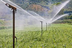 Irrigation system working on a farm Stock Photos