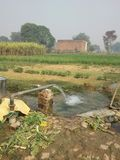 Irrigation. Village in jaunpur city of up india.arrangement for irrigation purpose of farming royalty free stock images
