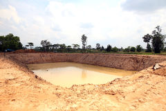 The irrigation water reservoir. Royalty Free Stock Photos
