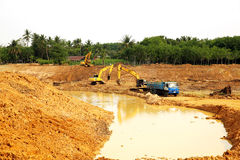 The irrigation water reservoir under construction. Stock Images