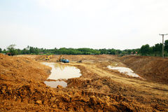 The irrigation water reservoir under construction. Stock Image