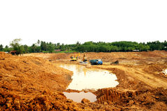 The irrigation water reservoir under construction. Royalty Free Stock Image