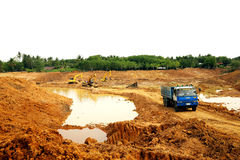 The irrigation water reservoir under construction. Royalty Free Stock Images