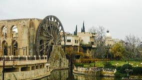 Irrigation Water-wheel norias in Hama on Orontes river Syria Stock Photos