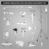 Irrigation and watering equipments set. Garden irrigation and watering equipments set in black and white colors Stock Photo