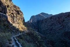 Small channel for water supply under puth in Tenerife royalty free stock image