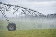 Irrigazione dallo spruzzatore del perno sul campo di erba Fotografia Stock Libera da Diritti