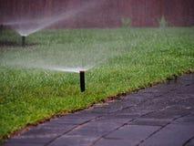 Irrigazione del giardino - primo piano dello spruzzatore Immagine Stock Libera da Diritti
