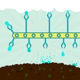 Irrigazione del terreno coltivabile Immagini Stock Libere da Diritti