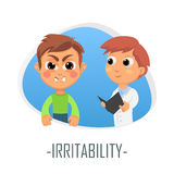 Irritability medical concept. Vector illustration. Royalty Free Stock Images