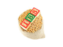 Irritable Bowel Syndrome. IBS (Irritable Bowel Syndrome) concept, highlighted through three wooden blocks, placed on a sack with wheat, with letters I, B and S Stock Images