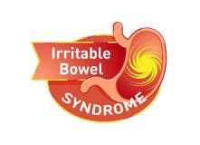 Irritable bowel syndrome IBS vector logo badge. With stomach in red color Royalty Free Stock Photo