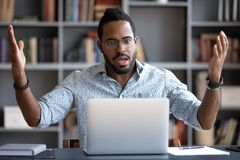 Free Irritated Angry African American Man Having Problem With Laptop Stock Photography - 194855162