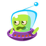 Irritated and annoyed green allien, cute cartoon monster. Colorful vector Illustration. Irritated and annoyed green allien, cute cartoon monster. Colorful vector Royalty Free Stock Image