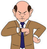 Irritated Cartoon Businessman. Unhappy businessman is glaring at his watch Stock Images
