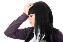 Irritated Exasperated Tired Stressed Annoyed Woman. Exasperated irritated annoyed Woman, with long black straight hair and hispanic or european features, looking stock images