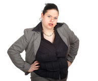 Irritated fat businesswoman Royalty Free Stock Photos