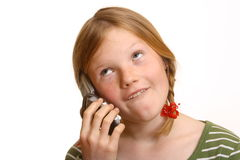 Irritated girl with cell phone Royalty Free Stock Photography