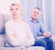 Irritated mature couple quarreling at home with each other Royalty Free Stock Photos