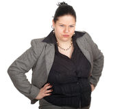 Irritated overweight, fat businesswoman Stock Photos