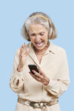 Irritated senior woman reading text message on cell phone against blue background Royalty Free Stock Photo