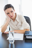 Irritated stylish brunette businesswoman holding her head and looking away Royalty Free Stock Images