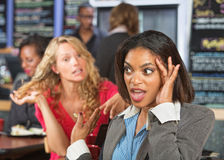 Irritated Woman in Cafe Stock Images