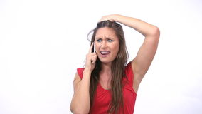 Irritated woman calling. Video of an irritated woman calling stock video