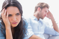 Irritated woman holding her head Royalty Free Stock Photography