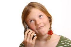 irriterad telefon för cellflicka Royaltyfri Fotografi