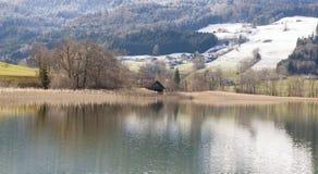 Irrsee湖,北部奥地利 库存照片
