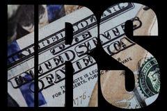 IRS, αμερικανικός μακρο στενός επάνω χρημάτων του προσώπου του Ben Franklin ` s στις ΗΠΑ λογαριασμός 100 δολαρίων Στοκ Εικόνα