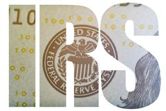 IRS, Amerikaans Geld Macrooverzicht van de federale reserve van wapenschildverenigde staten royalty-vrije stock fotografie