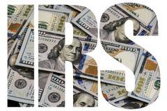 IRS, Amerikaans Gelda groot aantal van nieuwe honderd-dollar desintegreerde U honderd royalty-vrije stock afbeelding