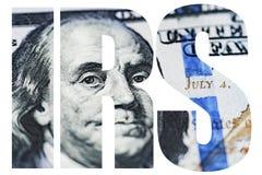 IRS, amerikanischer Geld-Makroabschluß oben von Ben Franklin-` s Gesicht auf dem Dollarschein US 100 Stockfoto