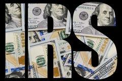 IRS amerikanska pengar ett stort antal ny hundra-dollar desintegrerade hundra U Arkivfoto