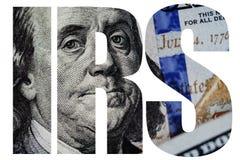 IRS amerikanskt pengarmakroslut upp av framsidan för Ben Franklin ` s på dollarräkningen för USA 100 Royaltyfri Fotografi