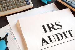 IRS Audit report and calculator on a desk. IRS Audit report and calculator on the desk stock images