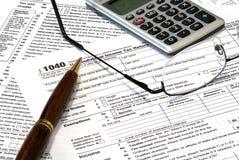 IRS 1040 de Vorm van de Belastingaangifte Stock Foto