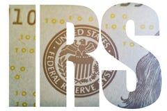 IRS, esboço macro do dinheiro americano da reserva federal de Estados Unidos da brasão fotografia de stock royalty free