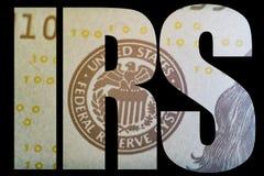 IRS, esboço macro do dinheiro americano da reserva federal de Estados Unidos da brasão imagens de stock